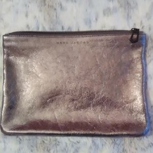 Marc Jacobs Silver/Pewter Leather Clutch Purse